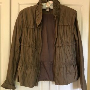 Chico's  brown dressy gathered jacket. Size 0